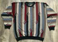 VTG Tundra Canada Wool Sweater Grandpa/Coogi Style Size Large Multicolor