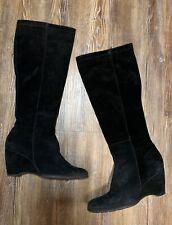 Franco Sarto Womens Wedge Knee High Boots Suede Black Sz 6.5