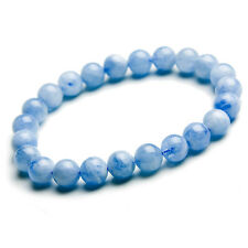 Natural Blue Aquamarine Round Stretch Clear Beads Bracelet 8mm AAA