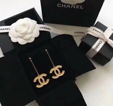 Chanel Large CC Logo 18K Gold Long Chain Pierced Dangling Earrings New