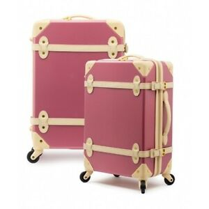 "EDDAS European Vintage Style Carry-on Travel Luggage 20"" Pink/Navy/Green/Brown"