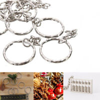 10/50/100Pcs 4 Link Keyring Silver Tone Key Chain Keyfob Split Ring Accessories