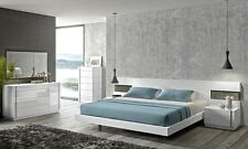 Elegant Design Amora Natural White Lacquer 5Pcs King Size Bedroom Set Furniture