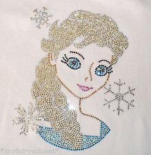 Frozen ELSA Disney iron-on rhinestone transfer 4 tshirt applique patch