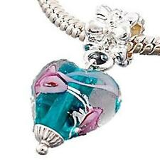 Aqua Foil Heart Glass Rose Drop Charm for Charm Bracelet ALL CHARMS 5 FOR 4 m814