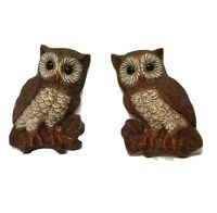 Vintage Retro Homco Foam Brown Owl Family Wall Hanging Set