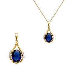 Pendentif Femme en Plaqué Or 18 carats et ZIRCONIUM Bleu NEUF - BEAUX BIJOUX