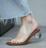 Women Round Ball Heel Mules Summer Open Toe Mules Clear Club Slippers Sandals sz