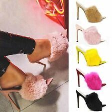 Women Fluffy Fur Fluffy Shoes Point Toe Sandals High Heels Sexy Party Shoes Size