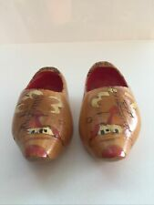 Old Vintage Carved Painted Dutch Wooden Shoes Clogs From Holland Windmill Wood 5