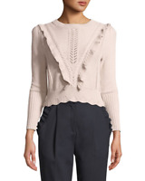 Rebecca Taylor Ruffled Mixed-Stitch Sweater MSRP $350 Size M # CL 47 NEW
