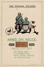 NEW A4 PRINT WW2 THE GERMAN SOLDIER BRITISH ARMY RECCE POSTER MOTORCYCLE UNIT