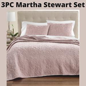 NEW Martha Stewart Velvet Flourish Queen Quilt + 2 Standard Shams in Pink #D90