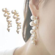 Fashion Elegant Women Lady Rhinestone Pearl Ear Stud Earrings Jewelry