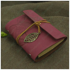 Portable Leaves Leather Notebook Refillable Blank Books Travel Diary Rose Red