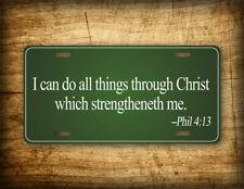 Philippians 4:13 License Plate Scripture Verse Green Auto Tag