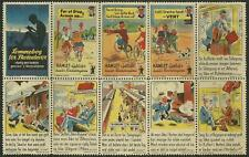 """Denmark 1940 """"Hamlet Cycles"""" Traveling Poster Label sheet of 10"""
