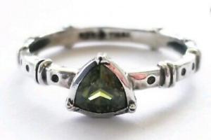 Silpada 925 Sterling Silver Belle Fleur Green Trillion Stacking Ring Sz 8 R2747