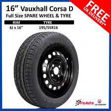 "VAUXHALL CORSA D 2006-2015 16"" FULL SIZE STEEL SPARE WHEEL AND TYRE 195/55R16"