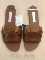 ZARA NEW LEATHER CROSSOVER SANDALS FLAT SLIP ON TAN BROWN CASUAL SIZE UK 2-9