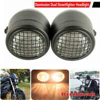 Motorcycle Dual H4 Headlight Dominator Metal Grill Headlamp Trike Streetfighter