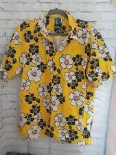 Mens Kirra Hawaiian Shirt Bright Yellow Buttonup Cotton Navy White Floral sz Lg