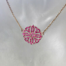 MODERN GENUINE 1.10CT PINK TOPAZ PENDANT CIRCLE 9CT GOLD CHAIN VALUATION $1,320