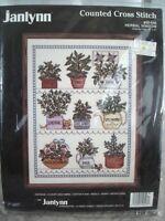 "JANLYNN Counted Cross Stitch Kit HERBAL WINDOW #50-546 New 12x16"" Vintage 1989"
