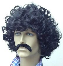 Curly  men's Black Wig and Moustache Set,(The Mexican) Fancy Dress Wig