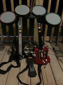 Harmonix Rock Band 822148  Drum Set - PS2/PS3/PS4 W/ Foot Kick Pedal 2 Guitars