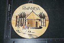 VINTAGE AFRICAN  WALL ART RWANDA BANANA WOOD APPLIED  ORIGINAL COLLECTIBLE RARE