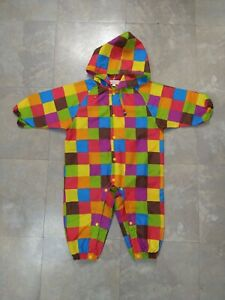 EUC Infant / toddler ORANGE BON BON rainbow checkered RAIN SUIT 1pc - size 90cm