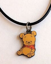 Silver Baby Winnie The Pooh Necklace Pendant Enamel Plated Cartoon Disney 17-19""