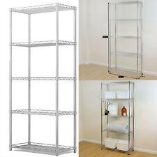 5 Tier Silver Metal Storage Rack Shelving Wire Shelf Kitchen Office Unit 160cm