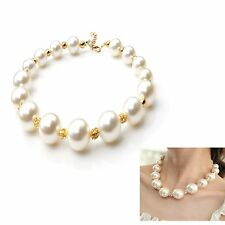 Large Faux Pearl Choke Necklace Length Adjustable 16-17 Inch