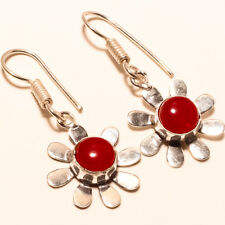 "Red Carnelian Vintage Style Handmade Silver Plated Copper Earring 2""-A202"