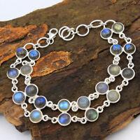 "Christmas Spcl Natural Labradorite 925 Sterling Silver Round Bracelet 7.75"""