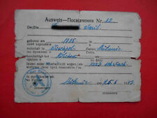 Occupation of UKRAINE 1943 Document ID for worker from ZHITOMIR district