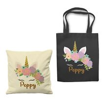 Personalized Name Unicorn Rose Cushion Cover Shopping Tote Bag Canvas Gift