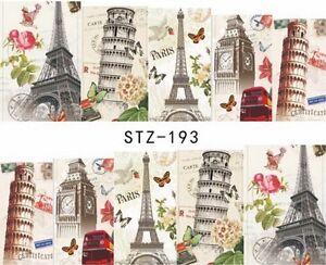 Tower of Pisa Eiffel Tower Big Ben Nail Art Sticker Decal Decoration Manicure