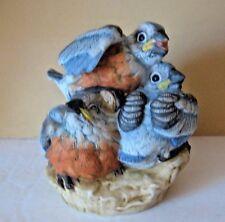 Vintage Andrea By Sadek Baby Bluebirds Porcelain Figurine #5803 Japan