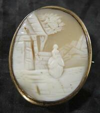 Antique Carved Cameo Gold Filled Brooch Pendant * Scenic Landscape & Woman