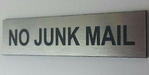 Engraved Plaque Sign No Junk Mail,Leaflets,Menus etc.Size 100X30mm Many Colours