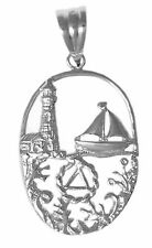 """Alcoholics Anonymous AA Sterling Silver Recovery Pendant Jewelry 1-1/8"""" Tall 911"""