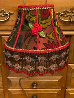 VICTORIAN STYLE BED LAMP, SCARLET & GREEN  CUT VELVET, LONG BEADED FRINGE