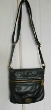 Vintage small Fossil crossbody shoulder bag black & brown leather adj strap zip