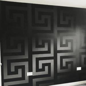 Solea Black Satin Greek Key Wallpaper