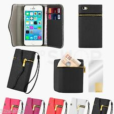 NEW Leather Zip Wallet Case Cover for Various Phones + Screen Protector & Stylus