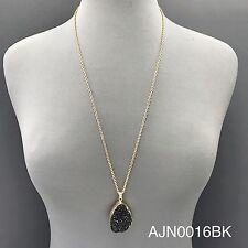 Bohemian Style Gold Chain Finish Black Druzy Stone Pendant Statement Necklace