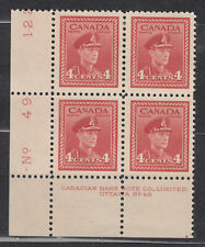 1942 #254 4¢ KING GEORGE VI WAR ISSUE  PLATE BLOCK #49 F-VFNH
